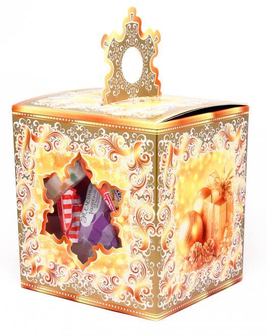 """Новогодний подарок """"Кубик со снежинкой"""" золотой 1,05 кг"""